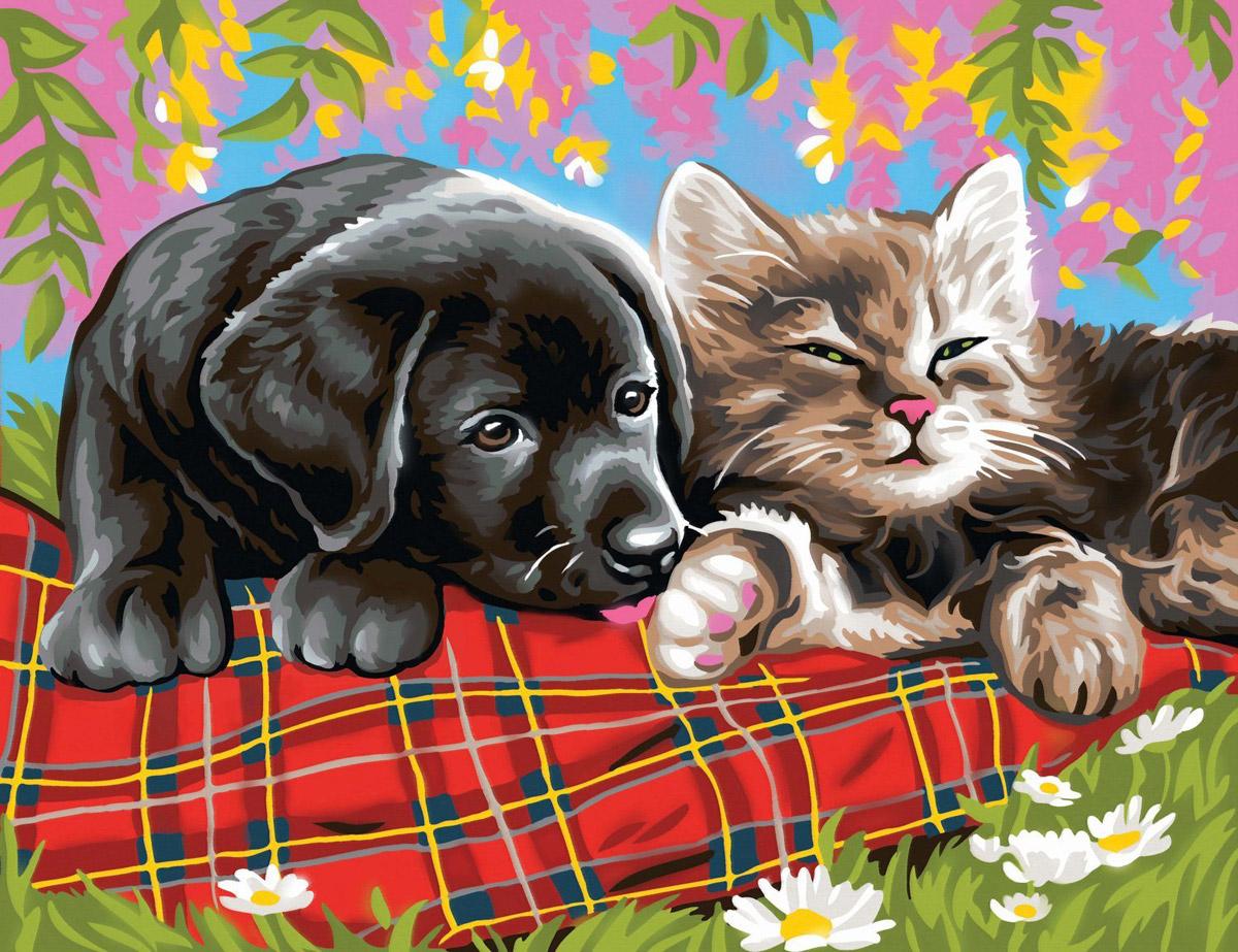 Кошка и щенки картинки